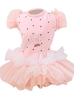 Dog Dress Blue / Pink Dog Clothes Summer / Spring/Fall Hearts / Polka Dots / Bowknot Fashion