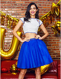 Cocktail Party Dress - Royal Blue / Ivory A-line Jewel Knee-length Lace / Tulle
