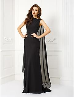 ts couture® vestido de noche formal más tamaño / pequeño vaina / columna de gasa tren Watteau barco con abalorios / marco / cinta