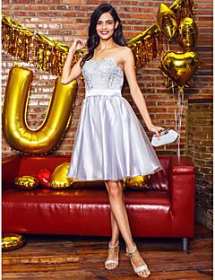 Cocktail Party Kleid - Silber Tülle - A-Linie - knielang - Herz-Ausschnitt