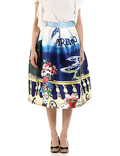 Boutique G Women's Floral Blue Skirts,Cute Knee-length