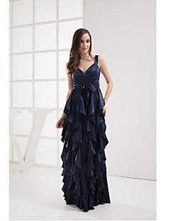 저녁 정장파티 드레스-다크 네이비 시스/칼럼 바닥 길이 V-넥 스트래치 새틴