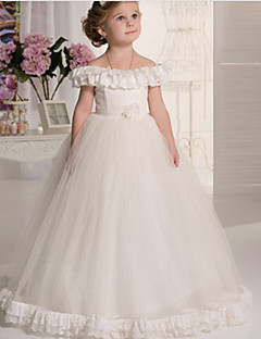 Vintage Pure White Bateau Ball Gown Floor-length Flower Girl Dress-Lace / Tulle / Stretch Satin Sleeveless