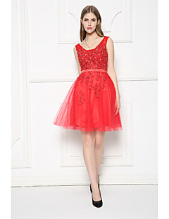 Cocktail Party Dress-Ruby A-line V-neck Short/Mini Tulle