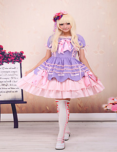 Steampunk®Light Purple And Pink Cotton Bandage Ruffle Bow Sweet Lolita Dress OP