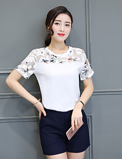 Women's Patchwork White Set,Round Neck Short Sleeve Print Randomly