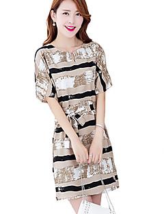 여성의 빈티지 / 스트리트 쉬크 시프트 드레스 줄무늬 무릎 위 V 넥 린넨 / 레이온 / 폴리에스테르