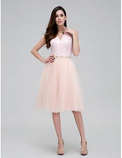 칵테일 파티 드레스 - 펄 핑크 A-라인 무릎 길이 홀터 넥 레이스 / 명주그물