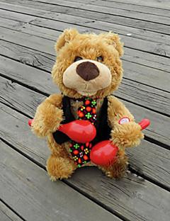 plysch björn textil röd / svart / khaki musik leksak för barn