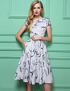 Robe Aux femmes Gaine Vintage,Imprimé Col Arrondi Mi-long Polyester