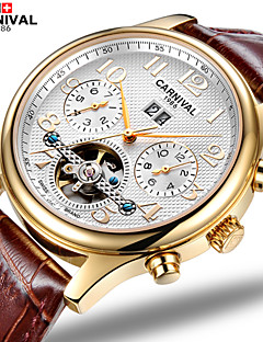 Carnival Heren Skeleton horloge Automatisch opwindmechanisme Hol Gegraveerd Leer Band Bruin