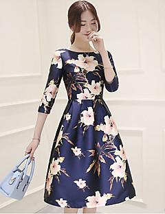 Mulheres Bainha Vestido,Casual Vintage Floral Decote Redondo Altura dos Joelhos Manga ¾ Azul Poliéster Todas as Estações