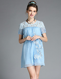 Fashion Women Elegant Vintage Bead Embroidery Lace Hollow Patchwork Silk Short Sleeve Sweet Temperament Dress