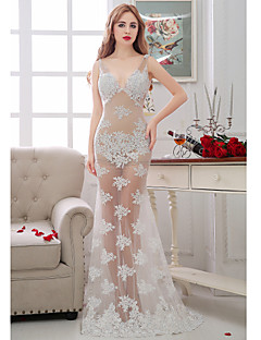 Formal Evening Dress-Ivory Trumpet/Mermaid V-neck Floor-length Lace / Tulle