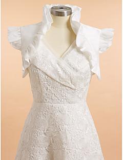 결혼식 랩 볼레로 민소매 태피터 아이보리 웨딩 / 파티/이브닝 러플 오픈 프론트