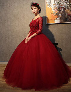 Formal Evening Dress Ball Gown Scoop Floor-length Lace / Tulle with Beading / Crystal Detailing / Lace