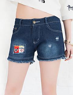 Mulheres Calças Casual / Simples Jeans / Shorts Algodão Sem Elasticidade Mulheres