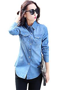 Mulheres Camisa Casual Vintage Todas as Estações,Sólido Azul Algodão Colarinho de Camisa Manga Longa Média