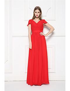 Vestido de Dama de Honor-Rojo Corte en A Cuello en V-Hasta el Suelo Raso