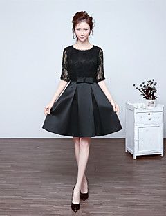 Cocktail Party Dress-Black A-line Jewel Short/Mini Lace / Satin