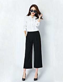 Mulheres Calças Plus Sizes / Casual Perna larga Linho Micro-Elástica Mulheres