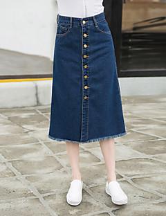 Vintage / Streetchic Midi Kjolar Kvinnors Oelastisk Bomull / Polyester
