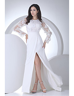 שמלת כלה -לבן (צבע וסגנון עלולים להיות שונים בין צגים) צמוד לגוף / גזרה ישרה שובל קורט (ארוך)-תכשיט-שיפון