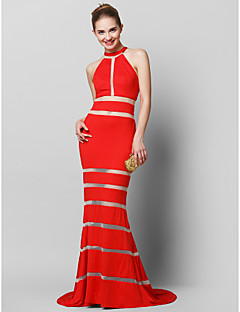TS Couture® Formal Evening Dress - Ruby Trumpet/Mermaid Jewel Sweep/Brush Train Tulle / Jersey