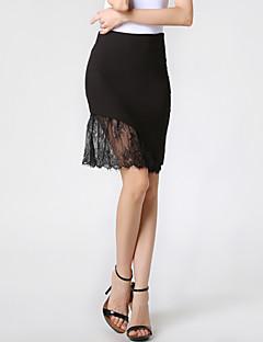 Women's Patchwork White / Black Skirts,Sexy / Work Lace Asymmetrical Bodycon Fashion Slim Thin Nylon