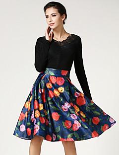עד הברך-בינוני (מדיום)-סגנון-חצאית(פוליאסטר / ניילון)