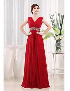 Sheath/Column Mother of the Bride Dress-Ruby Floor-length Chiffon
