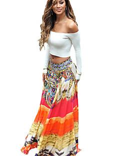 Women's Print Orange Skirts,Boho / Holiday / Beach Maxi