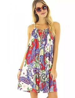 Mulheres Vestido Solto / Chifon Boho Floral Acima do Joelho Com Alças Poliéster