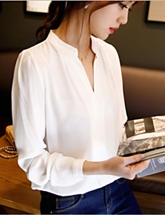 Mulheres Blusa Trabalho Simples Primavera,Sólido Branco Poliéster Decote V Manga Longa Média
