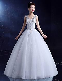Ball Gown Wedding Dress Floor-length V-neck Lace / Satin / Tulle with Crystal / Sequin