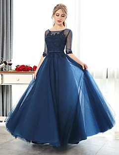 Formal Evening Dress-Blushing Pink / Ruby / Burgundy / Royal Blue / Dark Navy / Black / Sky Blue A-line Scoop Floor-length Lace / Tulle