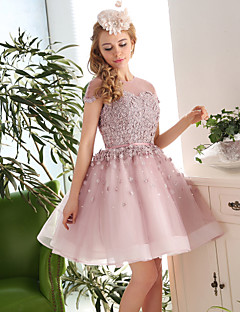 Cocktail Party Dress-Pearl Pink Ball Gown Jewel Knee-length Lace / Tulle