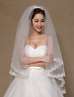 Wedding Veil Two-tier Fingertip Veils Lace Applique Edge Tulle Ivory