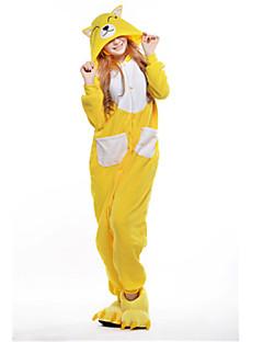 着ぐるみ パジャマ New Cosplay® きつね レオタード/着ぐるみ イベント/ホリデー 動物パジャマ ハロウィーン イエロー パッチワーク フリース きぐるみ ために 男女兼用 ハロウィーン クリスマス カーニバル 新年