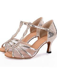 Obyčejné-Dámské-Taneční boty-Břišní / Latina / Jazz / Moderní / Vystupovací / Swing-Koženka-Rozšiřující se-Černá / Stříbrná / Zlatá