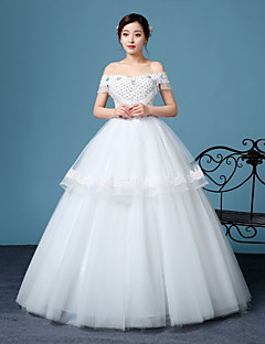 A-line Wedding Dress-White Floor-length Bateau Lace / Tulle