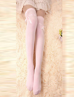 Pink Ribbon Cotton Søde Lolita Over Knee Socks