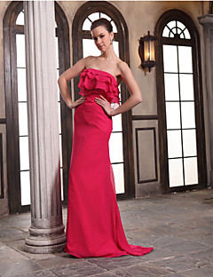 Floor-length Chiffon Bridesmaid Dress-Fuchsia Sheath/Column Strapless