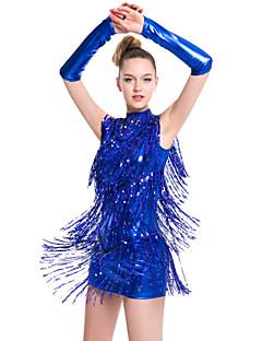 Latinské tance Šaty Dámské Výkon Süt Filtresi Střapce Jeden díl Bez rukávů Přírodní Šaty