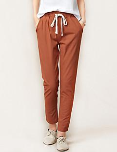 Women's Solid Blue / Red / White / Black / Brown Loose / Harem Pants,Casual Elastic waist Tenths pants Cotton / Linen