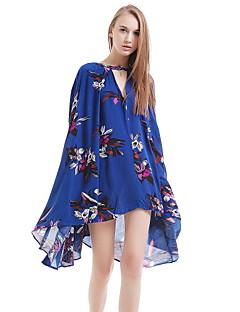 Women's Casual / Day / Cute Floral Loose Dress , V Neck Asymmetrical Cotton