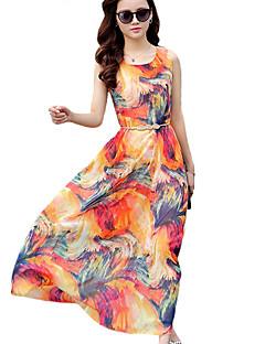 Women's Holiday Sexy / Boho Chiffon / Swing Dress,Print Round Neck Maxi Sleeveless Blue / Brown / Orange Polyester All Seasons