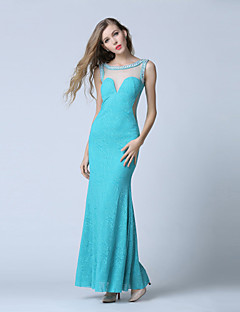 Formal Evening Dress Trumpet / Mermaid Scoop Ankle-length Lace / Tulle with Beading / Lace