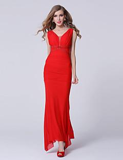 Evento Formal Vestido-Rojo / Azul Real Funda/Columna Hasta el Tobillo-Cuello en V Tul