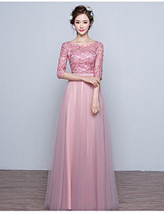 Formal Evening Dress Ball Gown Jewel Floor-length Lace / Tulle with Lace